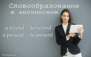 Словообразование в английском языке: словопроизводство (конверсия, ударение, аффиксация  в английском), словосложение