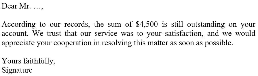 письмо требование об оплате задолженности образец