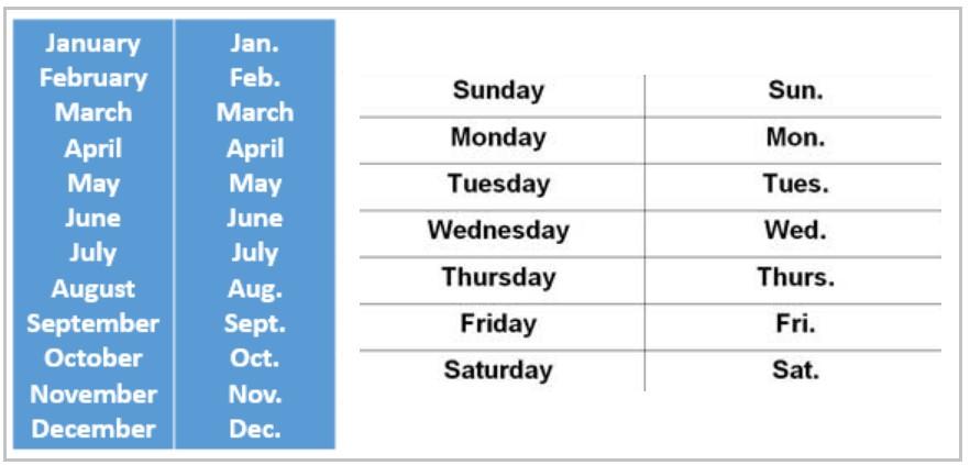 дни недели сокращенно на английском